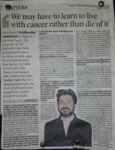 News article about Siddhartha Mukherjees research in America on Bulletin Board